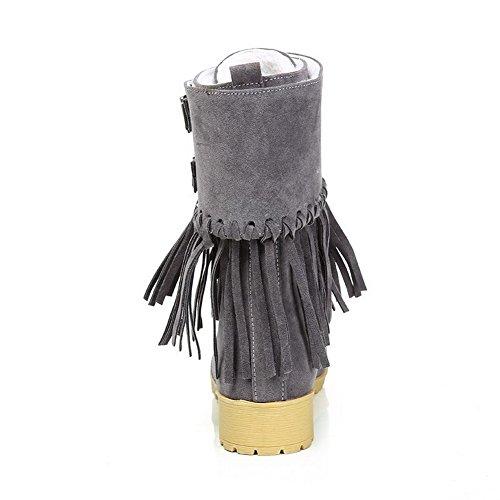 VogueZone009 Damen Mattglasbirne Rein Mitte-Spitze Blockabsatz Stiefel mit Fransig Grau