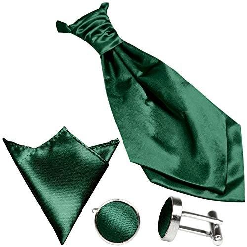 Gassani (set di 3 plastron cravatta larga, cravatta da sposa, verde, fazzoletto da taschino gemelli, al gilet da sposa fracetto da sposa