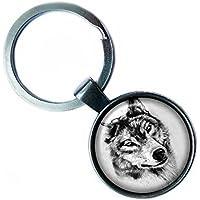 Wolf Head Silver Keychain Silber Schlüsselanhänger