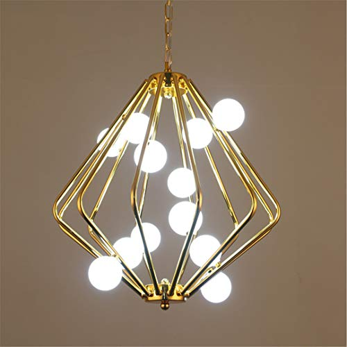 CRESDAR&L Modern Pendant Lights Gold Iron Cage Industrial Lamp Nordic Restaurant Room Loft Hanging Lamp Ball Shape Light Fixtures Warm White Big