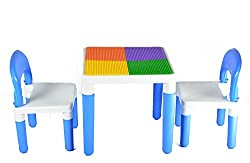 Toyboy Bajaj 2 In 1 Building Blocks Cum Study Or Play Table With 2 Chairs (Blue)