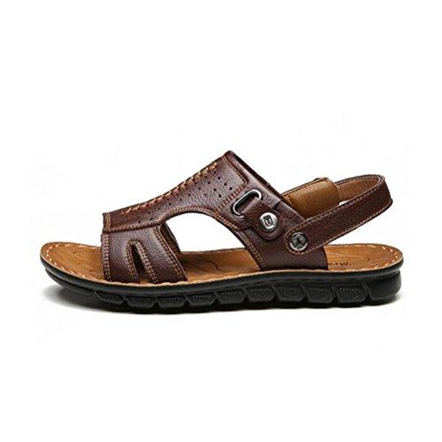 Herren-Ledersandalen bequem zu tragen langlebig und rutschfest Sommer waten Schuhe Brown