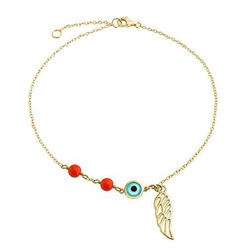 Bling Jewelry Evil Eye Angel Wing Guardian Fußkettchen 14K vergoldet Sterling Silber einstellbar 9-10 ()