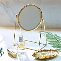 PuTwo Makeup Mirror Single Sided Vanity Mirror Vintage 360° Rotation Metal Table Mirror Round Cosmetic Mirror Handmade Make Up Mirror for Dresser Vanity Table Desk - Champagne Gold