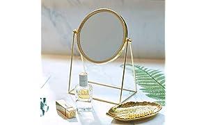 PuTwo Specchio da Trucco, Ornato e Decorativo, Specchio Cosmetico in Stile Principessa, a Lato Singolo, Color Oro Champagne