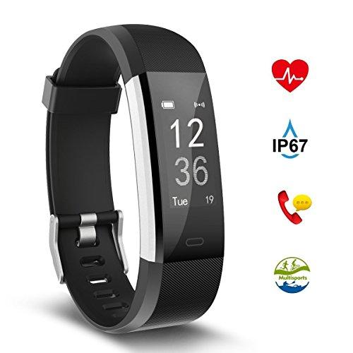 Preisvergleich Produktbild Fitness Tracker,Aneken Fitness Armband Uhr mit Herzfrequenz, Schrittzähler Pulsmesser mit 14 Trainings Modi Schlafmonitor Wasserdicht Kalorienzähler Beachten kompatibel mit iOS Android Handy (Schwarz)