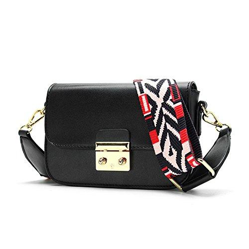 XMY Kleine Tasche weibliche einfache Wilde Mode breites Band diagonale Verschlussschnalle kleine eckige Schulter, schwarz -