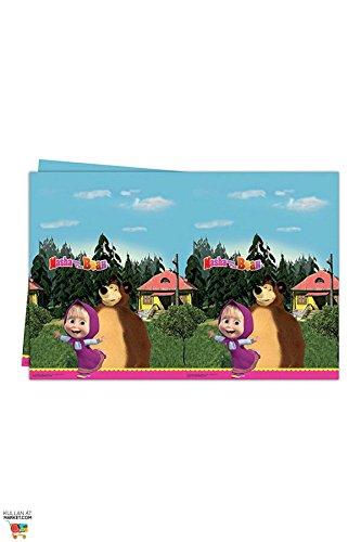 Procos 86515–Mantel de plástico Masha y el oso, 120x 180cm, multicolor