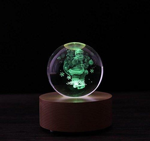 Rcdxing Wohnkultur Fernbedienung Bluetooth Music Box mit LED Leuchten Kristallkugel (Santa Claus) für Kindergeschenk (Santa Box Claus Music)