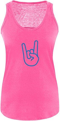 EZYshirt® Rock Hand Damen Tanktop Fuchsia/ Blau