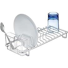 mDesign escurreplatos para encimera - Práctica bandeja escurridora para secar vajilla, ollas, sartenes y utensilios de cocina - Para un secado rápido - Color: plateado/transparente