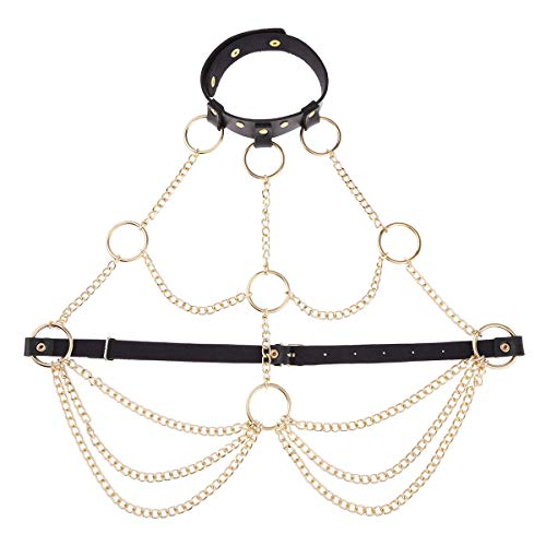 CHICTRY Damen Gothic Kostüm Punk Brust Harness Körpergeschirr Leder Optik Brustgurte Geschirre Wetlook Oberteile mit Metallic Kette und O-Ring Gold (Typ A) Einheitsgröße