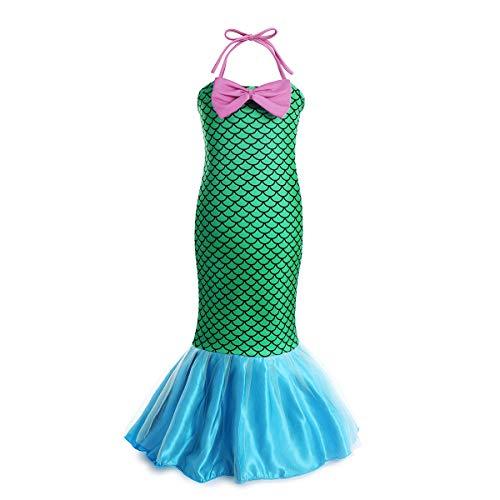 FYMNSI Kostüm Meerjungfrau Kinder Mädchen Ariel Nixe Mermaid Prinzessin Kleid Fischschuppen Langes Festkleid Karneval Fasching Geburtstag Party Cospaly Verkleiden Grün 6-7 Jahre (Ariel Meerjungfrau Kind Kostüm)