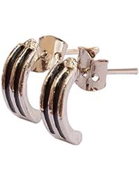 Buy 1 Get 1 Pair Free -Foppish Mart Pair of Smart Stainless Steel Silver Black Earrings For Men