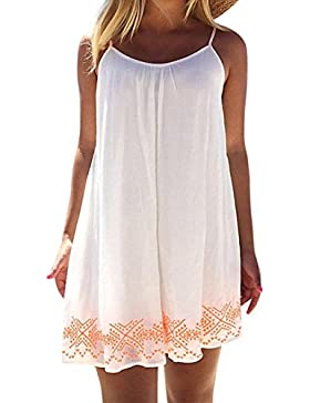 SKY Celebrate for the Summer !!!Mujeres Vestido de la correa dulce fresca Evening Party Beach Mini Dress Sundress