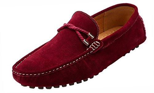 Yaer classiche mocassini scarpe uomo (rosso loafer eu43)