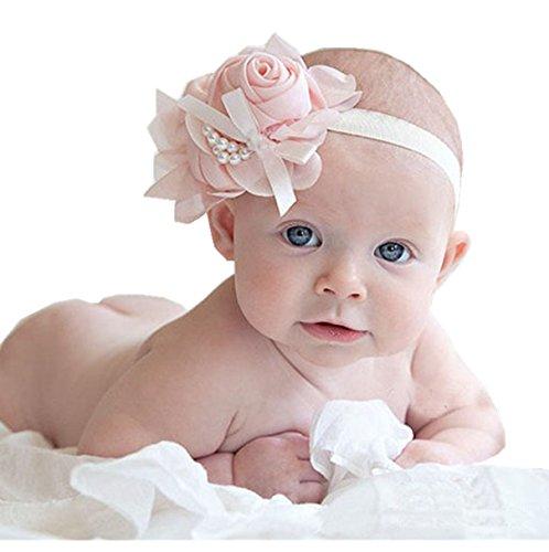 Oyedens Fotografia Bebes Newborn Photography Props Diademas Bebe 1PCS Rhinestone Encantador Del áNgel Inusual De Las Muchachas De La Perla De Las Flores De Las Vendas Banda Para El Cabello (talla única, Rosa)