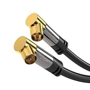 KabelDirekt Antennenkabel (5m 75 Ohm HDTV, 90° Grad gewinkelt Koax Stecker, Koax Kupplung Koaxialkabel, geeignet für TV, HDTV, Radio, DVB-T, DVB-C, DVB-S (Winkelstecker) PRO Series)