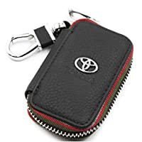 KEY CHAIN AND COW LEATHER WALLET WITH TOYOTA LOGO FOR KEY AND REMOTE - BLACK COLOR
