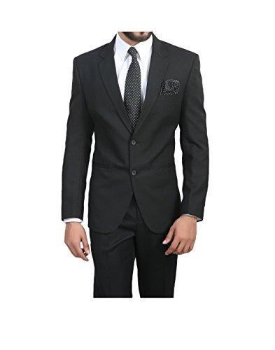 ManQ Men's Blended Slim Fit Formal Blazer (Black, 40)