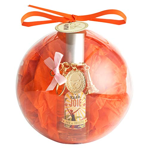 Palla di natale cofanetto regalo joie per donna, 1 eau de toilette 55ml, 1 portachiavi torre eiffel paris, profumo originale mughetto, fiore d'arancio, rosa, buono idee scatole originali santa claus