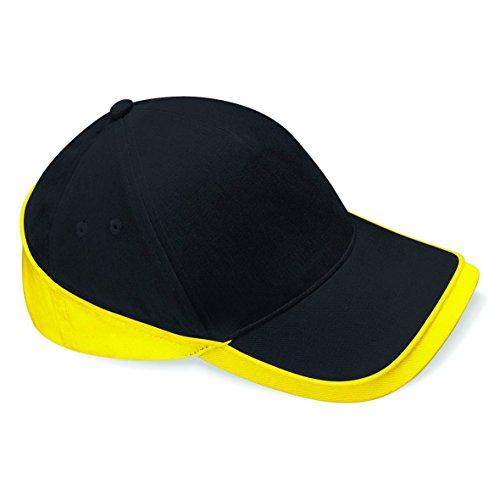 Beechfield Teamwear competition cap - Black / Yellow Brushed Cotton Twill Cap