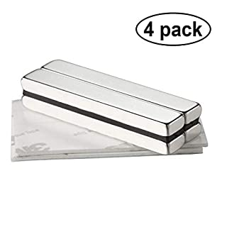 Wukong Rare Earth Neodymium Bar Magnets Powerful Permanent for Fridge, DIY, Building, Scientific, Craft, and Office Magnets, 60 X 10 X 5MM - Pack of 4