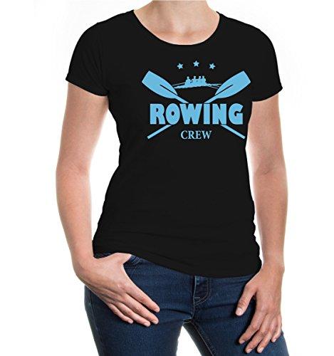 buXsbaum® Girlie T-Shirt Rowing Crew Black-Skyblue