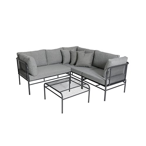 greemotion Loungeset Toulouse eisengrau/grau, Eckbank mit Tisch für In- und Outdoor, Bank mit Rückenverstellung, pflegeleichtes Streckmetallgestell, Sitzelemente einfach umzustellen,...