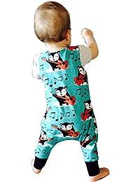 LANDFOX La ropa infantil de los equipos del mono del mameluco de la impresión de la historieta del muchacho del bebé recién nacido