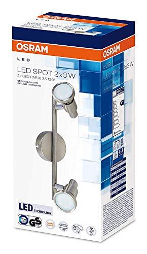 OSRAM - Applique Plafonnier LED - 2 Spots Orientables - 2 Spots GU10 3W Equivalent 35W Inclus - Blanc Chaud 2700K