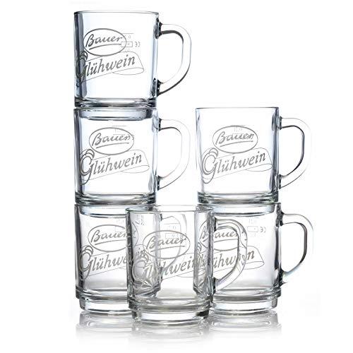 Glühweingläser Bauer 0,25l Tee Glas 12 Punsch Gläser mit Henkel geeicht 0,2l Glühweinbecher