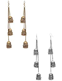 karatcart Antique Metal Kashmiri Tribal Oxidised Fashion German Multiple Jhumki Long Earrings for Women Combo of 2