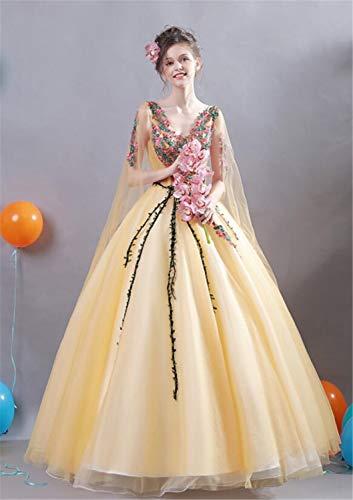 LYJFSZ-7 Goldenes Braut-Hochzeits-Kleid-Toast-Kleidungs-Party-Kleid, Spitze bestickte Kleid