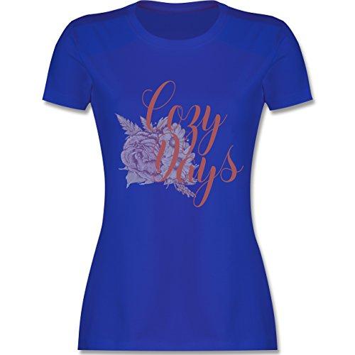 Shirtracer Statement Shirts - Cozy Days Lettering - Damen T-Shirt Rundhals Royalblau