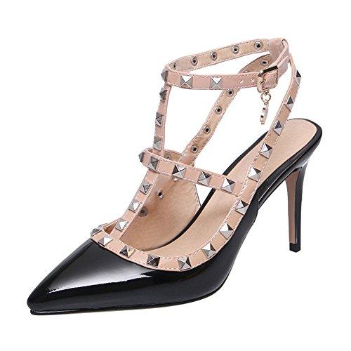 YE Damen T-Spangen Stiletto High Heels Sandalen Riemchen Slingback Pumps mit Nieten Elegant Abend Schuhe