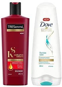 TRESemme Keratin Smooth Shampoo, 340ml & Dove Dryness Care Conditioner, 180ml