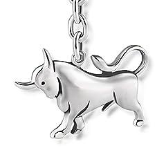 Idea Regalo - STERLL Uomo Portachiavi segno zodiacale Toro Argento sterling 925 ossidato Sacchetto per gioielli, Regalo d'amore per lui