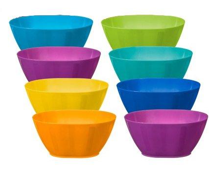 Fingey Kunststoffschüssel, -becher, -teller, für Garten und Picknick, mikrowellengeeignet, in verschiedenen Farben, 8 Stück, plastik, Bowls (Party-teller Verschiedene Farben)