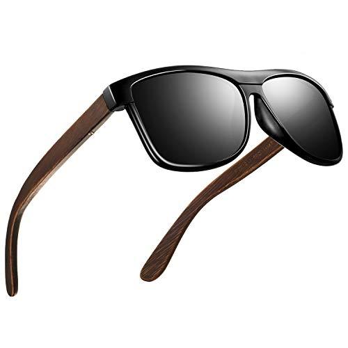 FEIDU Sonnenbrille herren holz Zwei Stile zur Auswahl - Polarisierte sonnenbrille holz Klassischer Stil Und Einfacher Stil Unisex FD 9003H (Helles Schwarz-Einfacher, 50)