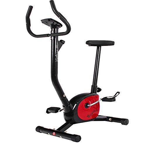 Heimtrainer Fitnessbike Fitnessrad Fahrrad Hometrainer Fitnessgerät Sensoren (Schwarz-Rot)