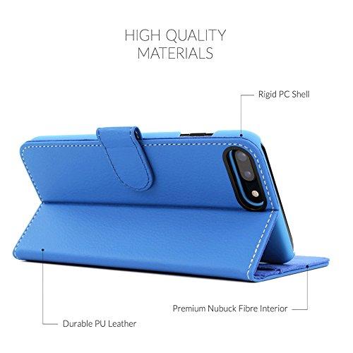 Cover iPhone 7 Plus and 8 Plus, Snugg Apple iPhone 7 Plus and 8 Plus Flip Custodia Case [Slot Per Schede] Pelle Portafoglio Progettazione Esecutiva [Garantita a Vita] - Rosso, Legacy Range Blu