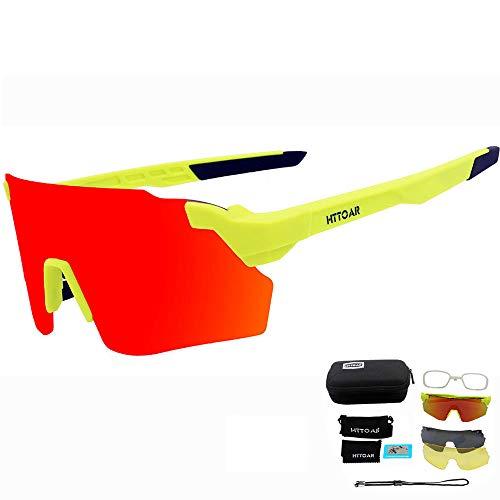 HTTOAR Outdoor-Sport-Sonnenbrille UV400-Schutz Fahrrad polarisierte Brille, geeignet für Fahrradbrillen Baseball Angeln Skilaufen Fahren Brillen (Green)