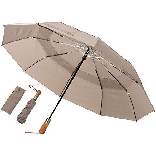 Regenschirm Taschenschirm - ADRIANO PORCARO - sturmfest, windsicher - inkl. Schirm-Tasche - Auf-Zu-Automatik, klein, leicht & kompakt, windsfest, stabil (Khaki)