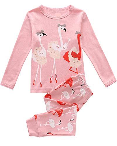Tkiames Mädchen Pyjama Giraffe Langarm Baumwolle Schlafanzug Set Nachtwäsche Nachtwäsche Gr. 6-7 Jahre, Flamingo 2 - Flamingo Pyjama