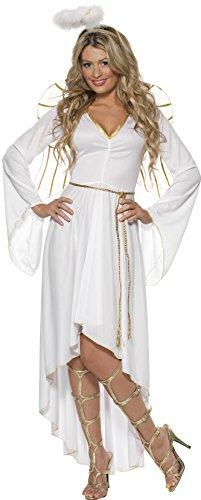 Smiffys, Damen Engel Kostüm, Kleid, Gürtel, Heiligenschein und Flügel, Größe: L, 36977
