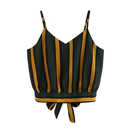 Cebbay Bluse Women's Casual V-Ausschnitt Streifen Kurze Crop Cami Tops Leibchen Shirt Weste (EU-40//CN-XL, Grün) -