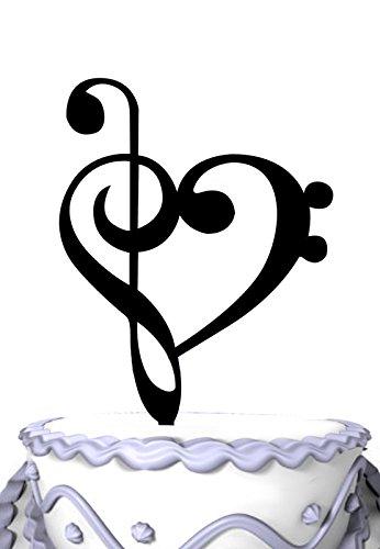 Meijiafei Music Note Silhouette Wedding Cake Topper Heart Gift (Topper-designs Halloween Wedding Cake)