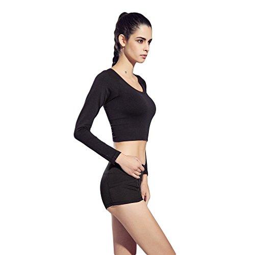 La Vogue Top Blouse Sweat-Shirt Court Manche Longue Sport Femme Noir