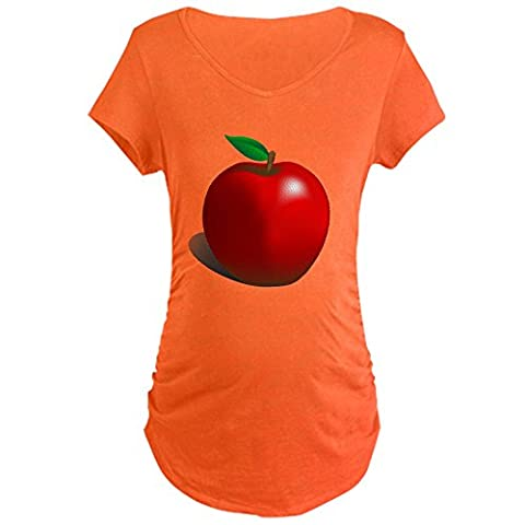 CafePress - Red Apple Fruit - Cotton Maternity T-shirt, Cute & Funny Pregnancy Tee